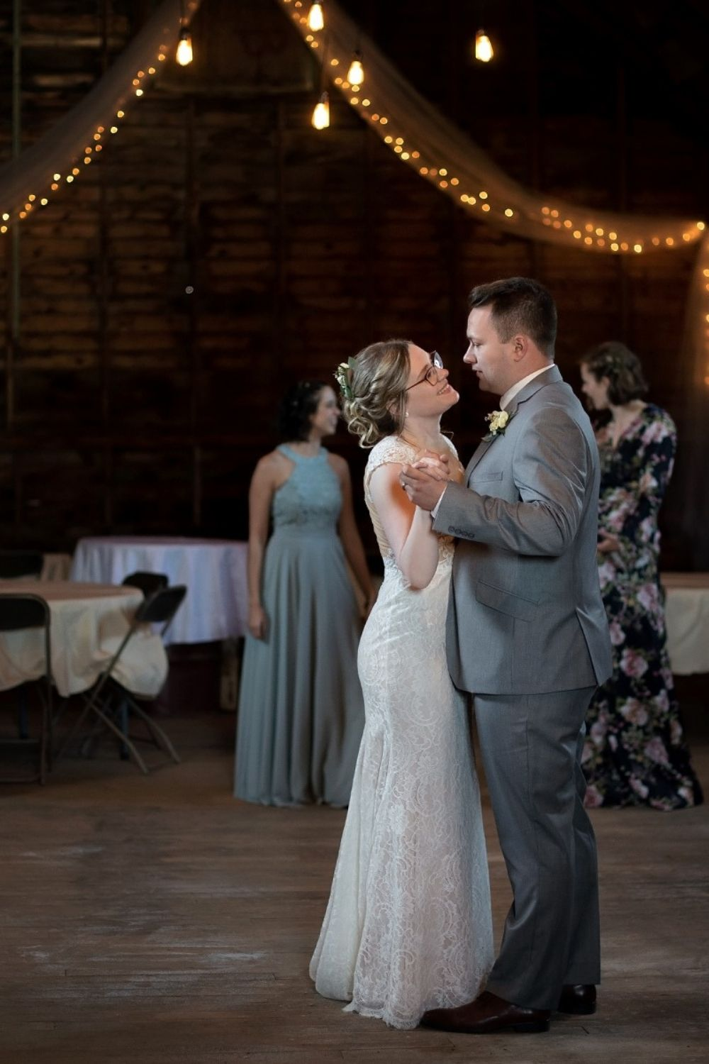 Night wedding reception by Bumble & Vine Photography.